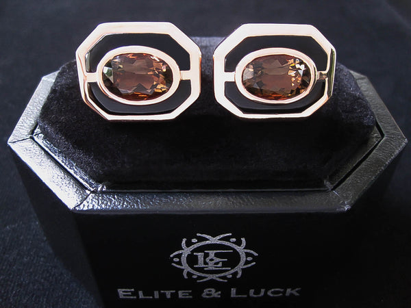 Smoky Quartz + Black Onyx Sterling Silver Cufflinks, Rose Gold plated, Charming Model