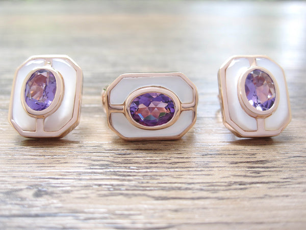 Amethyst + Mother of Pearl Sterling Silver Earrings, Rose Gold plated, Charming Model