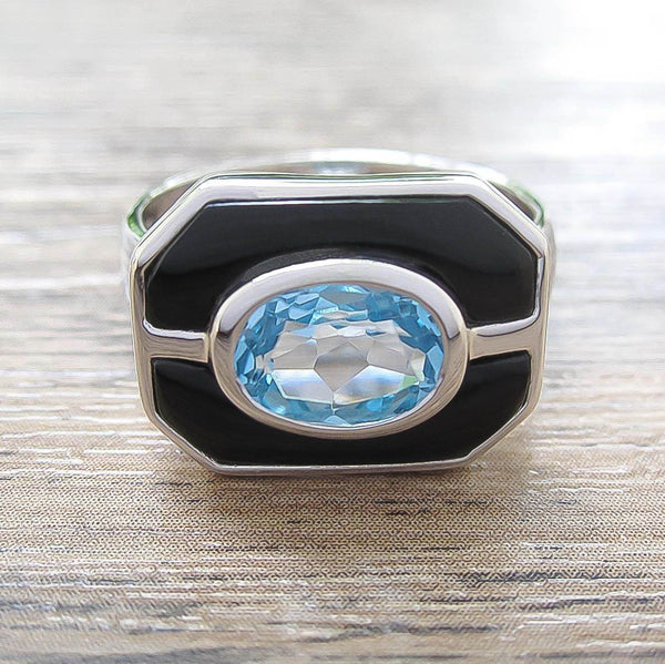 Blue Topaz + Black Onyx Sterling Silver Ring, Rhodium plated, Charming Model