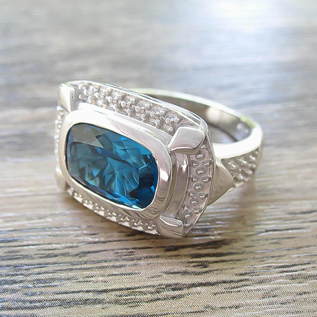 cfe7a71a7ae7c London Blue Topaz Sterling Silver Ring, Rhodium plated, Luxury Model ***  Very Exclusive ***