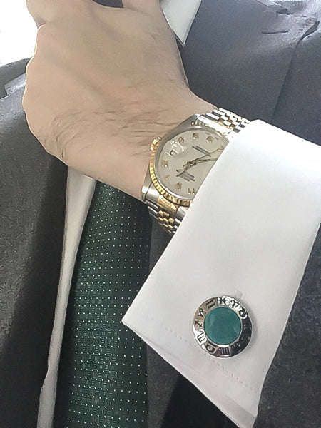 Green Chrysoprase Sterling Silver Cufflinks, Rhodium plated, Zodiac Model *** Exclusive Cufflinks for Pisces ***