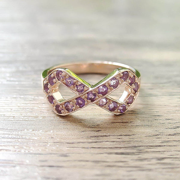 Amethyst Sterling Silver Ring, Rose Gold plated, Infinite Model
