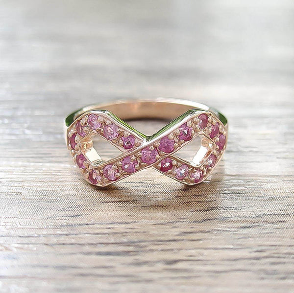 Pink Sapphire Sterling Silver Ring, Rose Gold plated, Infinite Model