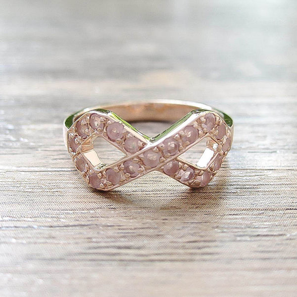 Rose Quartz Sterling Silver Ring, Rose Gold plated, Infinite Model