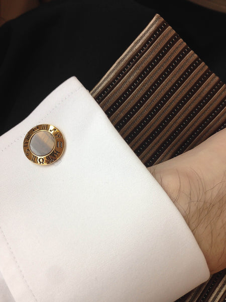 Tiger's Eye Sterling Silver Cufflinks, 18K Yellow Gold plated, Zodiac Model *** Exclusive Cufflinks for Taurus ***