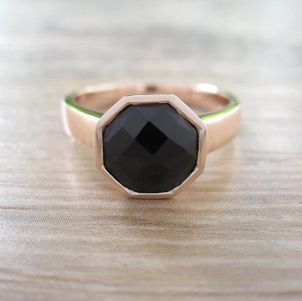 Black Onyx Sterling Silver Ring, Rose Gold plated, Glamorous Model