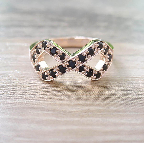 Black Onyx Sterling Silver Ring, Rose Gold plated, Infinite Model
