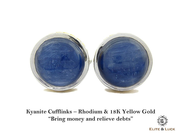 Kyanite Sterling Silver Cufflinks, Rhodium & 18K Yellow Gold plated, Limited Model