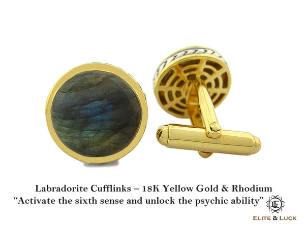 Labradorite Sterling Silver Cufflinks, 18K Yellow Gold & Rhodium plated, Limited Model