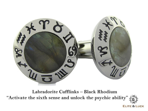 Labradorite Sterling Silver Cufflinks, Black Rhodium plated, Zodiac Model *** Exclusive Cufflinks for Capricorn ***