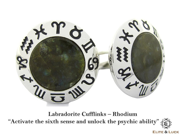 Labradorite Sterling Silver Cufflinks, Rhodium plated, Zodiac Model *** Exclusive Cufflinks for Capricorn ***