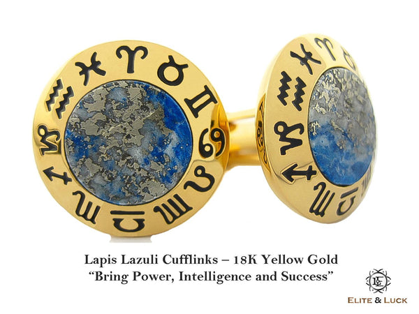 Lapis Lazuli Sterling Silver Cufflinks, 18K Yellow Gold plated, Zodiac Model *** Exclusive Cufflinks for Libra ***