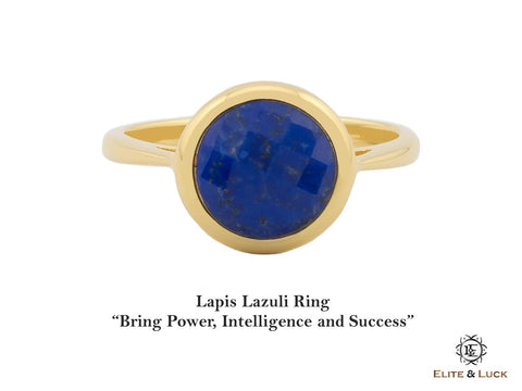 Lapis Lazuli Sterling Silver Ring, 18K Yellow Gold plated, Dashing Model