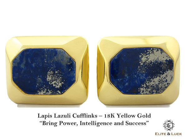 Lapis Lazuli Sterling Silver Cufflinks, 18K Yellow Gold plated, Modern Model
