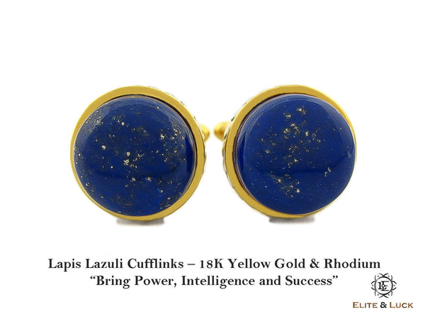 Lapis Lazuli Sterling Silver Cufflinks, 18K Yellow Gold & Rhodium plated, Limited Model