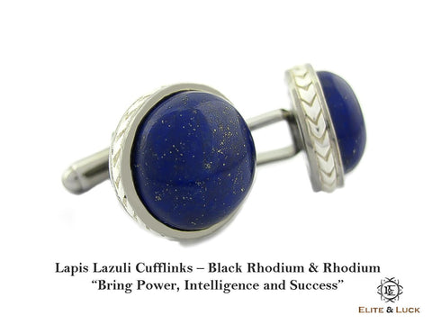 Lapis Lazuli Sterling Silver Cufflinks, Black Rhodium & Rhodium plated, Limited Model