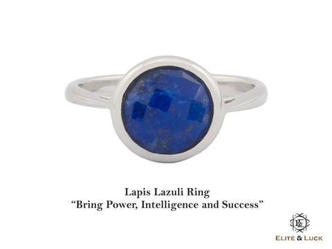 Lapis Lazuli Sterling Silver Ring, Rhodium plated, Dashing Model