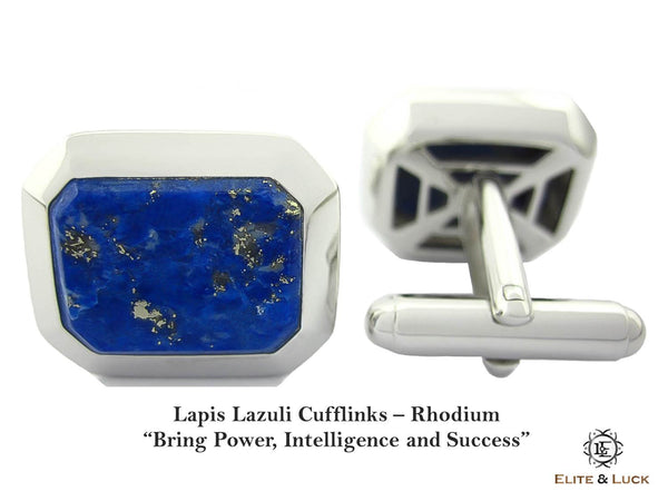 Lapis Lazuli Sterling Silver Cufflinks, Rhodium plated, Classic Model