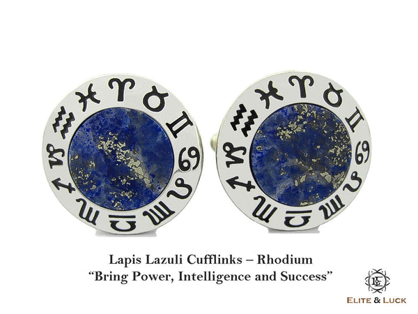 Lapis Lazuli Sterling Silver Cufflinks, Rhodium plated, Zodiac Model *** Exclusive Cufflinks for Libra ***