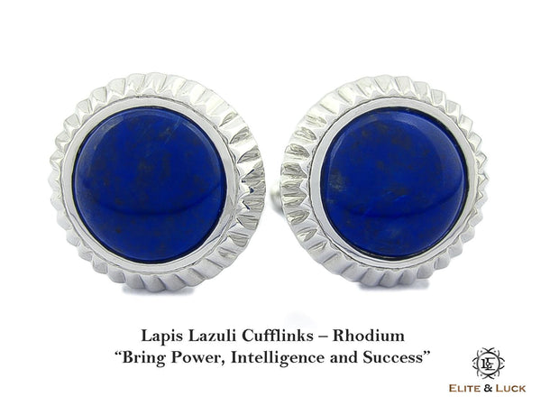 Lapis Lazuli Sterling Silver Cufflinks, Rhodium plated, Elegant Model