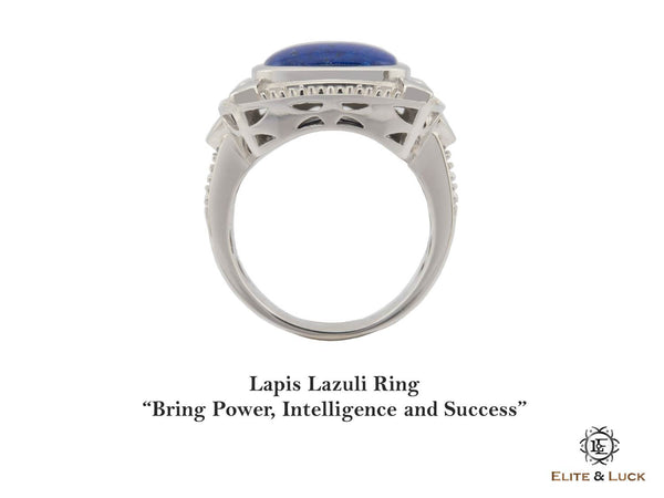 Lapis Lazuli Sterling Silver Ring, Rhodium plated, Luxury Model
