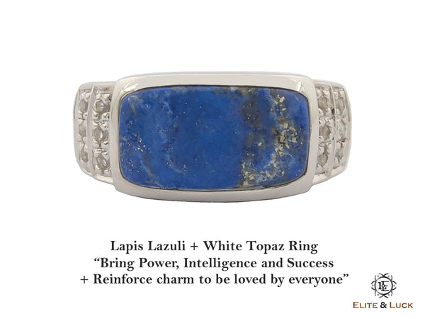 Lapis Lazuli + White Topaz Sterling Silver Ring, Rhodium plated, Noble Model