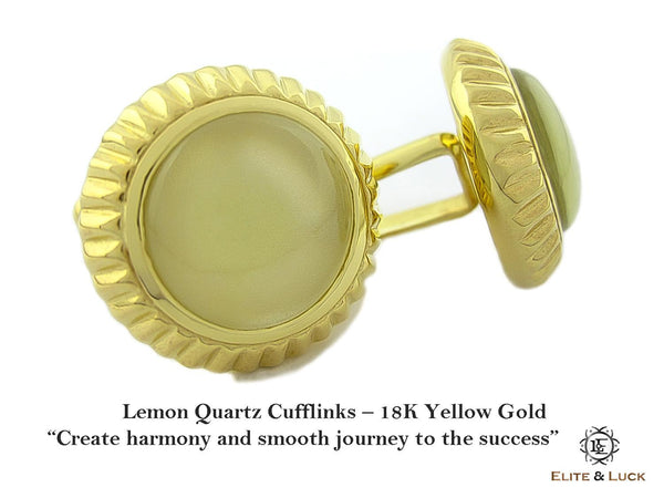 Lemon Quartz Sterling Silver Cufflinks, 18K Yellow Gold plated, Elegant Model