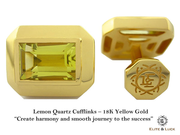 Lemon Quartz Sterling Silver Cufflinks, 18K Yellow Gold plated, Elite Model