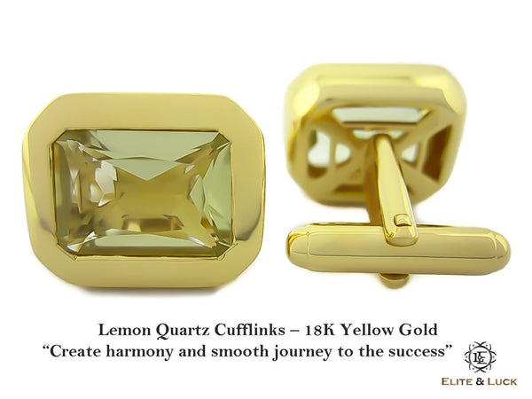 Lemon Quartz Sterling Silver Cufflinks, 18K Yellow Gold plated, Classic Model