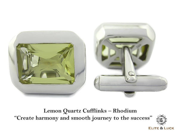 Lemon Quartz Sterling Silver Cufflinks, Rhodium plated, Classic Model