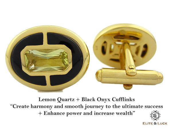 Lemon Quartz + Black Onyx Sterling Silver Cufflinks, 18K Yellow Gold plated, Prestige Model