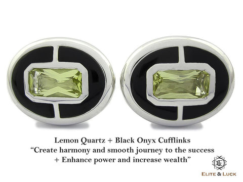Lemon Quartz + Black Onyx Sterling Silver Cufflinks, Rhodium plated, Prestige Model