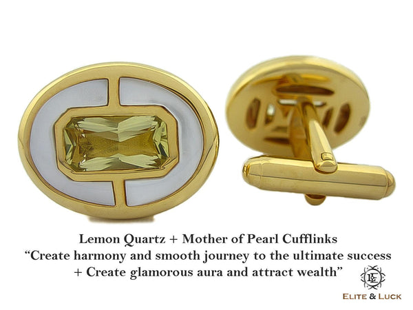 Lemon Quartz + Mother of Pearl Sterling Silver Cufflinks, 18K Yellow Gold plated, Prestige Model