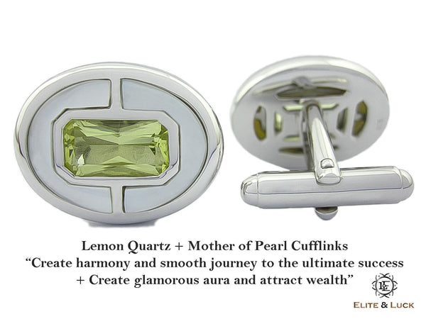 Lemon Quartz + Mother of Pearl Sterling Silver Cufflinks, Rhodium plated, Prestige Model