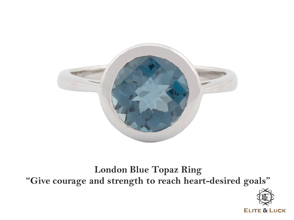 eeb8260835309 London Blue Topaz Sterling Silver Ring, Rhodium plated, Dashing Model