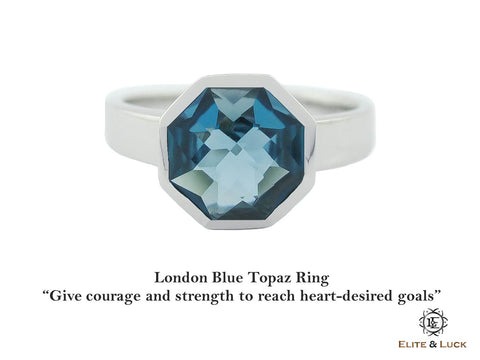 London Blue Topaz Sterling Silver Ring, Rhodium plated, Glamorous Model