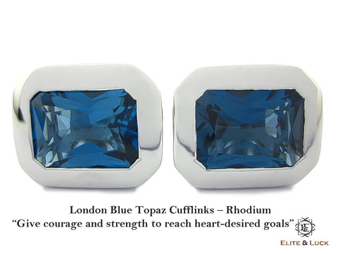 London Blue Topaz Sterling Silver Cufflinks, Rhodium plated, Classic Model *** Very Exclusive ***