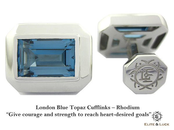 London Blue Topaz Sterling Silver Cufflinks, Rhodium plated, Elite Model *** Very Exclusive ***