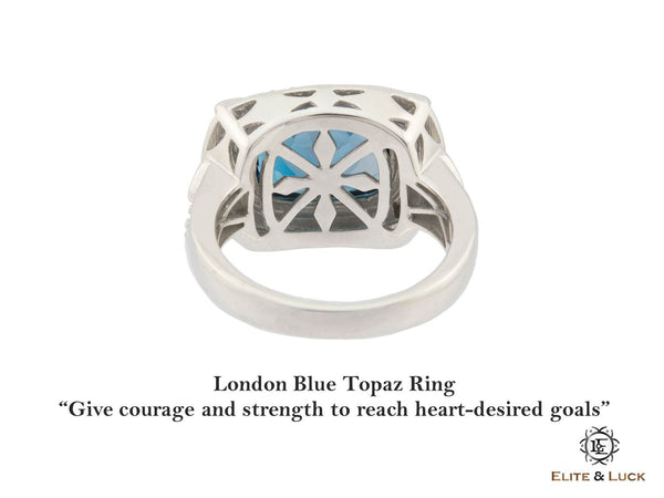 London Blue Topaz Sterling Silver Ring, Rhodium plated, Luxury Model *** Very Exclusive ***