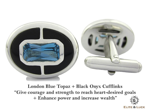 London Blue Topaz + Black Onyx Sterling Silver Cufflinks, Rhodium plated, Prestige Model *** Very Exclusive ***