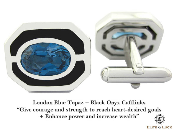 London Blue Topaz + Black Onyx Sterling Silver Cufflinks, Rhodium plated, Charming Model *** Very Exclusive ***