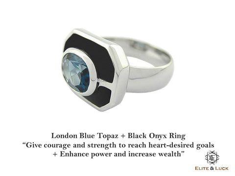 London Blue Topaz + Black Onyx Sterling Silver Ring, Rhodium plated, Charming Model *** Very Exclusive ***