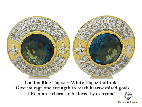 London Blue Topaz + White Topaz Sterling Silver Cufflinks, 18K Yellow Gold & Rhodium plated, Royal Model