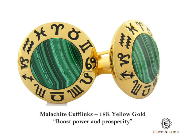 Malachite Sterling Silver Cufflinks, 18K Yellow Gold plated, Zodiac Model *** Exclusive Cufflinks for Scorpio ***