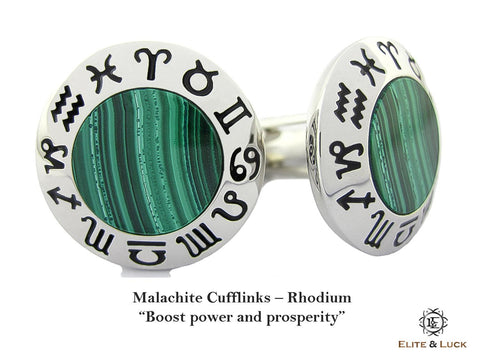 Malachite Sterling Silver Cufflinks, Rhodium plated, Zodiac Model *** Exclusive Cufflinks for Scorpio ***