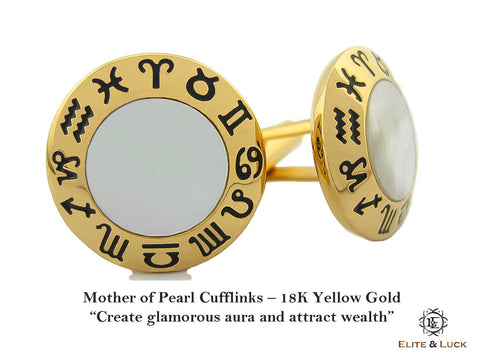 Mother of Pearl Sterling Silver Cufflinks, 18K Yellow Gold plated, Zodiac Model *** Exclusive Cufflinks for Gemini ***