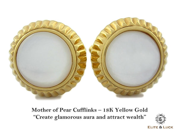 Mother of Pearl Sterling Silver Cufflinks, 18K Yellow Gold plated, Elegant Model