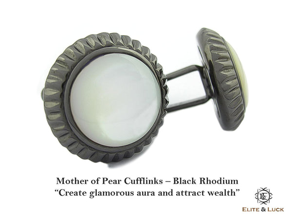 Mother of Pearl Sterling Silver Cufflinks, Black Rhodium plated, Elegant Model
