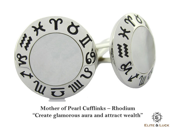 Mother of Pearl Sterling Silver Cufflinks, Rhodium plated, Zodiac Model *** Exclusive Cufflinks for Gemini ***