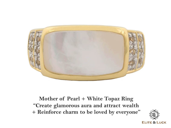 Mother of Pearl + White Topaz Sterling Silver Ring, 18K Yellow Gold plated, Noble Model